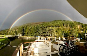 Rainbow from the deck, cruising the caledonian canal