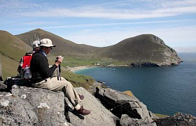 Guests enjoying the view of Village Bay, St Kilda