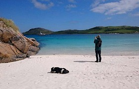 Vatersay with local Madam the dog