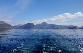 Leaving Scavaig on our Skye Cruise