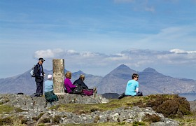 Scottish cruise guests on Sgurr of Eigg shore trip
