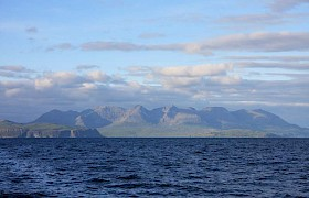 Elizabeth G passing the Cuillins on her way to the Shiant Islands