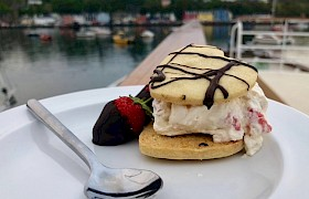 Chef Pip - amazing dessert served at anchor in Tobermory harbour
