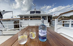 Whitetail Gin - a local artisan gin served on board. Photo Nigel Spencer