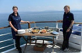 Chef Caroline and Bosun Emma serve up a seafood buffet