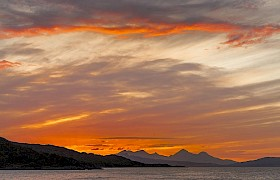 Sunset over the isle of rum in the small isles