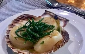 Scallops served on a September cruise